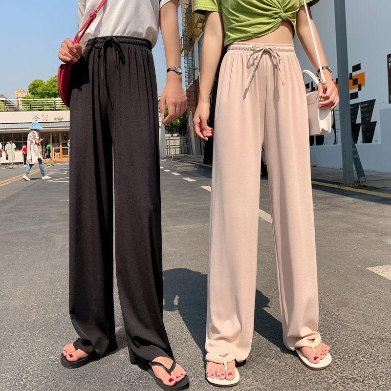 Ice Silk Wide-Leg Long Pants Women Korean High Waist Straight Pants Casual Loose Office Lady Summer New Trousers Plus Size Slim