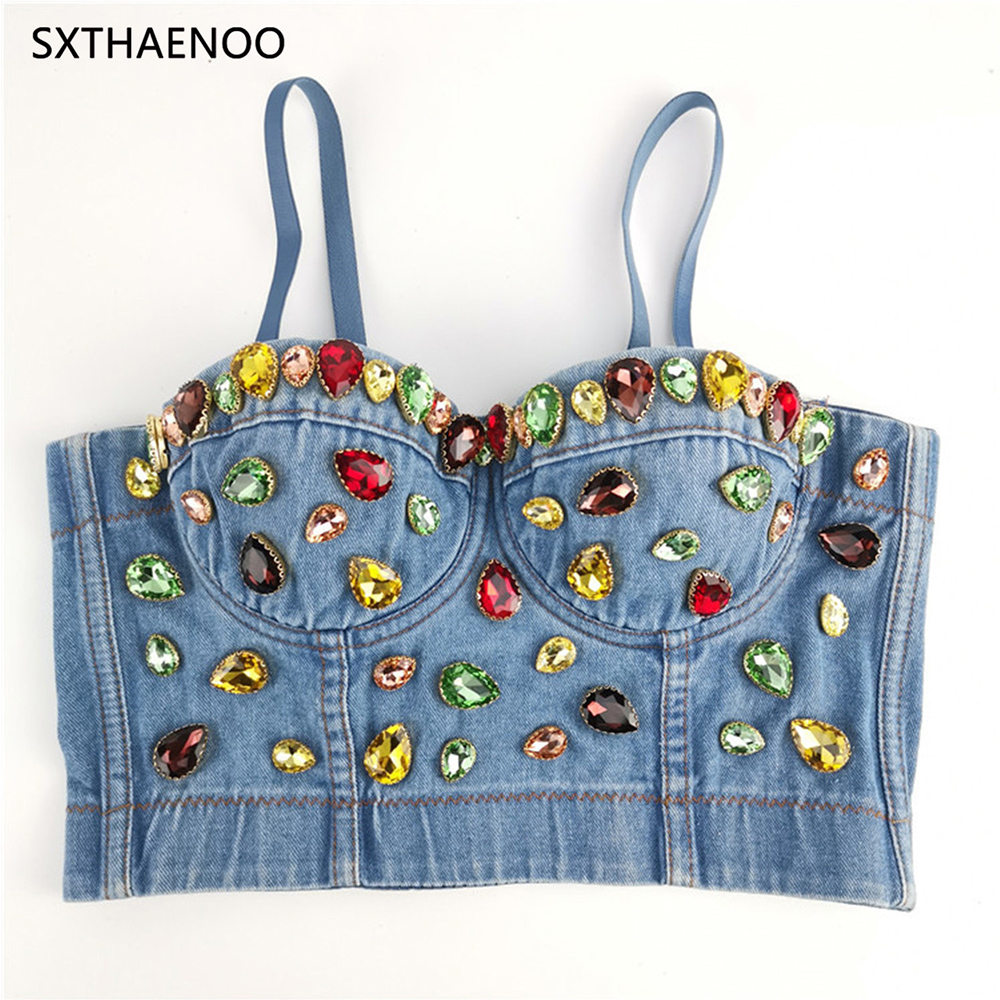 SXTHAENOO 2019 Women Slim Sexy Denim Cropped Tops Summer Camisole for Festival Night Club Party Dance