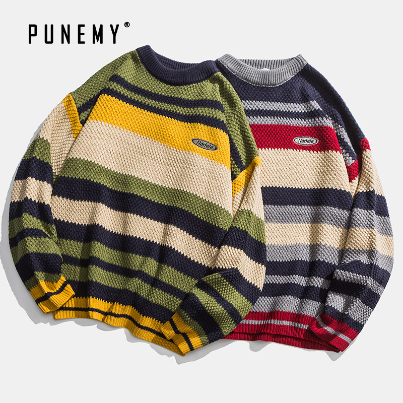 Casual Men Sweaters Retro Striped Pattern Acrylic Oversize O-neck Hip Hop Streetwear Harajuku Autumn New Pullover Men's Sweaters