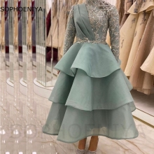 New Arrival Organza High Neck Long sleeve evening dresses 2021 Lace Beading Prom Party evening gowns Robe de soirée de mariage