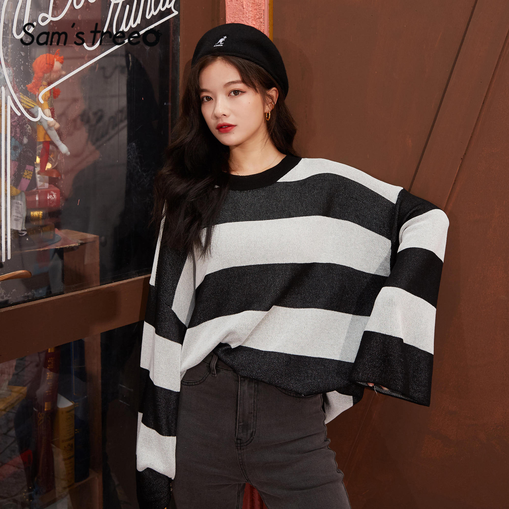 SAM'S TREE Apricot Colorblock Striped Knit Loose Casual Women Sweater 2020 Spring New Black Long Sleeve Korean Ladies Basic Tops