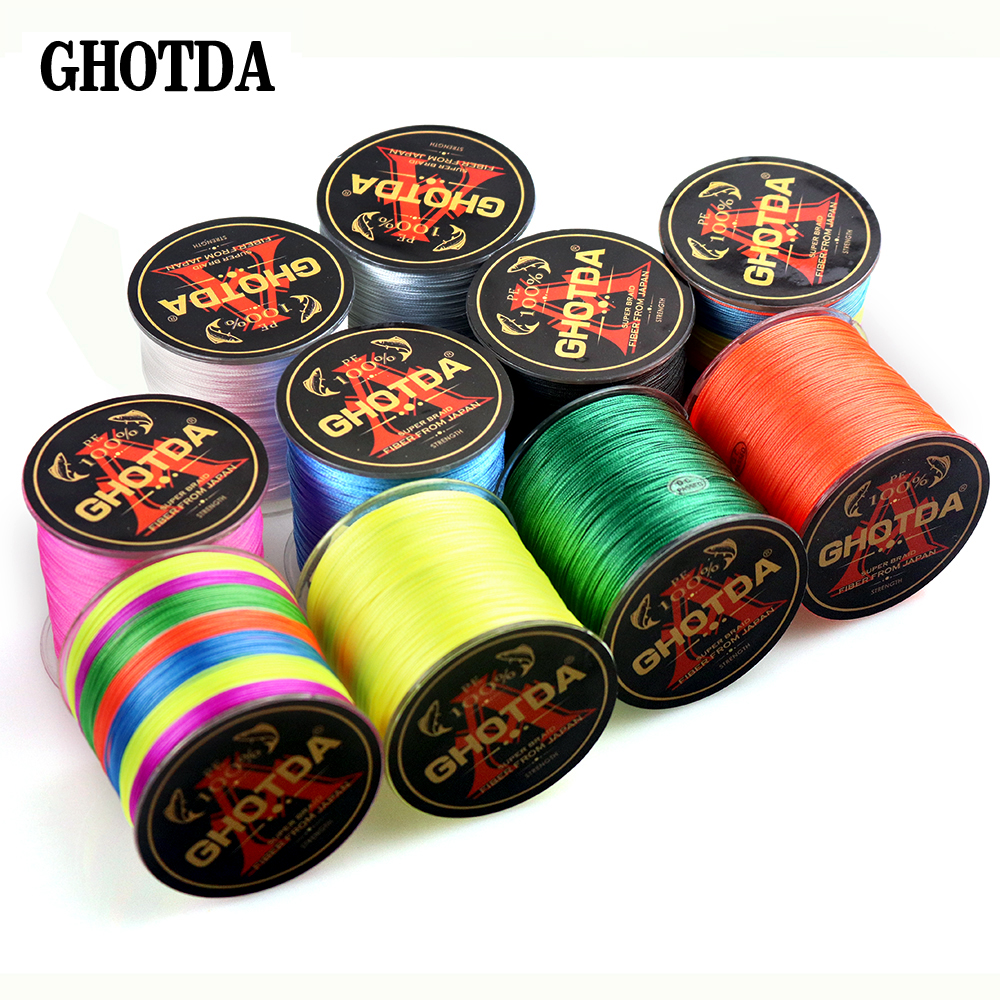 GHOTDA 8 Strands PE Braided Fishing Line Saltwater Carp Fishing Weave Extreme Super Strong Casting 100M Fishing Line Cord