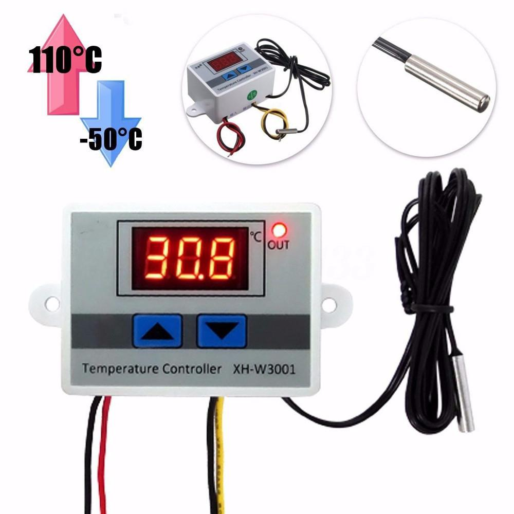 <font><b>XH</b></font>-<font><b>W3001</b></font> <font><b>W3001</b></font> Temperature Controller Digital LED Temperature Controller Thermometer Thermo Controller Switch Probe DC12/AC220V image