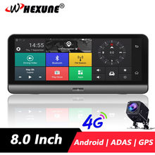 WHEXUNE 8 Inch 4G Android Car Dashboard ADAS DVR Camera GPS Navigation FHD 1080P Dual Lens WiFi Car Video Recorder Night vision(China)