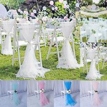 Fashion Romantic Organza Sashes Chair Cover Sash Wider Fuller Bows Wedding Party 2*1.5M