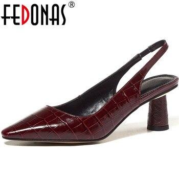 FEDONAS Elegant Fashion Women Sheepskin Suede Leather Shoes Woman Round Heels Pumps Point Toe Summer 2020 Basic New Shoes Woman