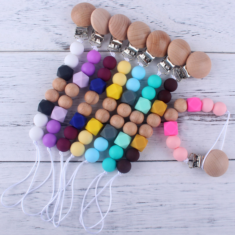 Simple Binky Clip Beech Wooden Pacifier Holder For Nipple 15MM Silicone Beads Safe Teething Chain Strap