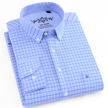 Men's Daily Casual Plaid Checked Oxford Shirts Single Patch Pocket Clean Stitched Regular-fit Long Sleeve Button Down Tops Shirt 1