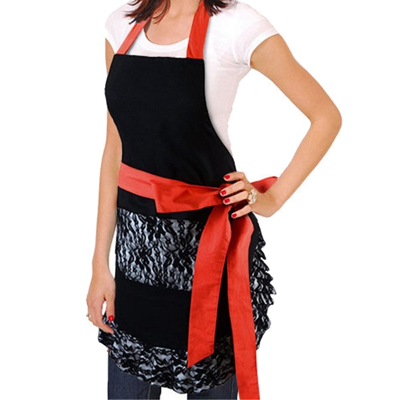 ELEG-Black Lace Flirty <font><b>Apron</b></font> with Pocket, Fun Retro <font><b>Sexy</b></font> <font><b>Kitchen</b></font> Cooking Pinup <font><b>Aprons</b></font> for Women Girls image