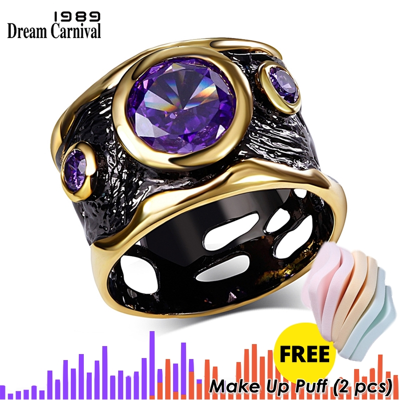 DreamCarnival 1989 Vintage Jewelry Ring For Women Gothic Black Gold Color HipHop Purple CZ Punk Hollow Wedding Cincin Orang Roma