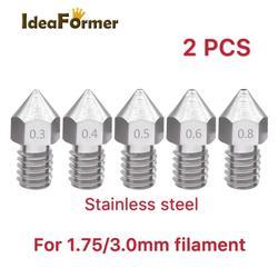 2 sztuk MK8 ze stali nierdzewnej M6 gwintowane dyszy 0.2/0.3/0.4/0.5/0.6/0.8mm dla 1.75mm/3.0mm Fliament 3D drukarki wytłaczarki głowicy drukującej