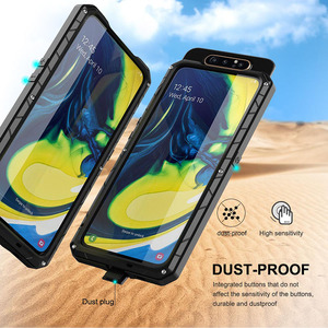 Image 4 - עבור סמסונג גלקסי A80 טלפון מקרה קשה אלומיניום מתכת מזג זכוכית מסך מתנת מגן כיסוי כבד החובה הגנת כיסוי