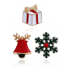 European and American Christmas Jewelry Drop Glaze Cute Bell Snowflake Brooch Suit Collar Gift