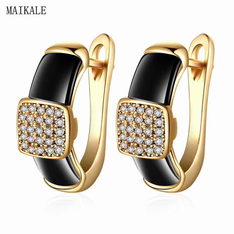 MAIKALE Luxury Black White Ceramic Stud Earrings for Women Square Cubic Zirconia Gold Silver Ear Studs Party Jewelry Girls Gifts