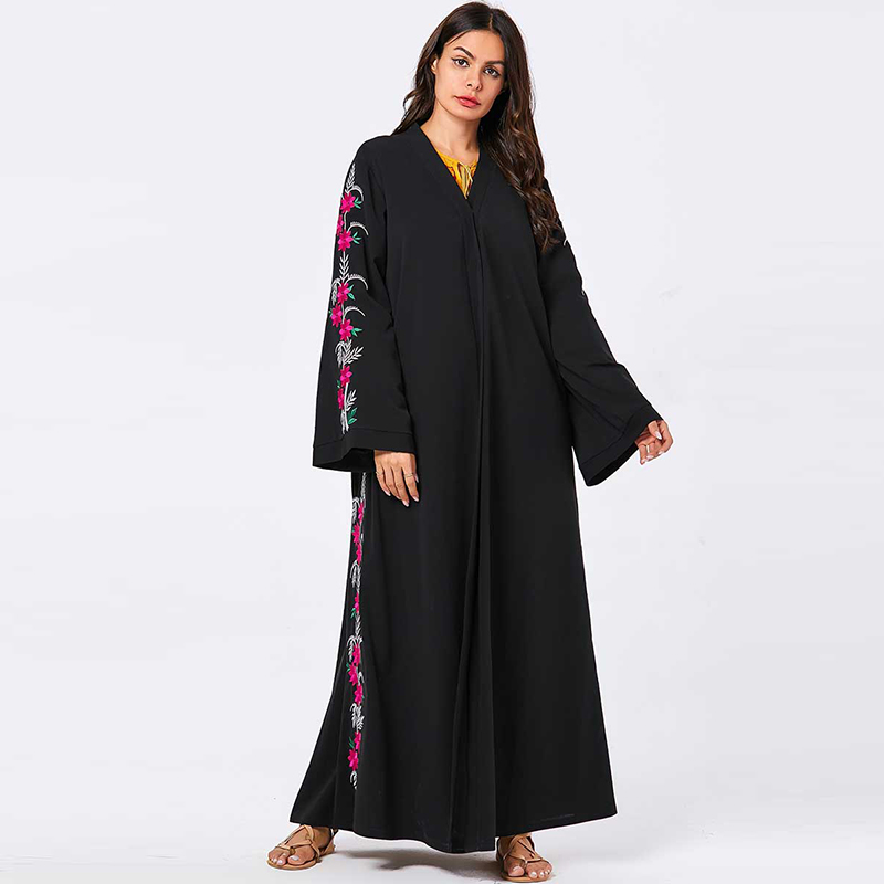 Black Muslim Hijab Dress Women Kaftan Turkish Islamic Clothing Djellaba Dubai Abaya Femme Musulman Grote Maten Dames Kleding