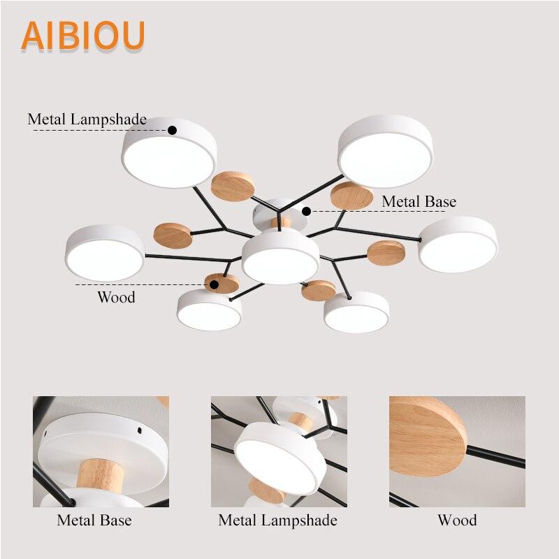 AIBIOU современный 220 В светодиодный потолочный светильник с круглыми металлическими абажурами для гостиной, скандинавские деревянные потолочные светильники для спальни - 5