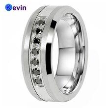 חתונה טבעות לגברים ונשים טונגסטן פלדה בשילוב טבעת עם 7 שחור CZ אבן שיבוץ