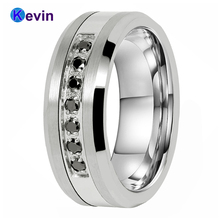 Wedding Rings For Men And Women Tungsten Steel Combined Ring With 7 Black CZ Stone inlay