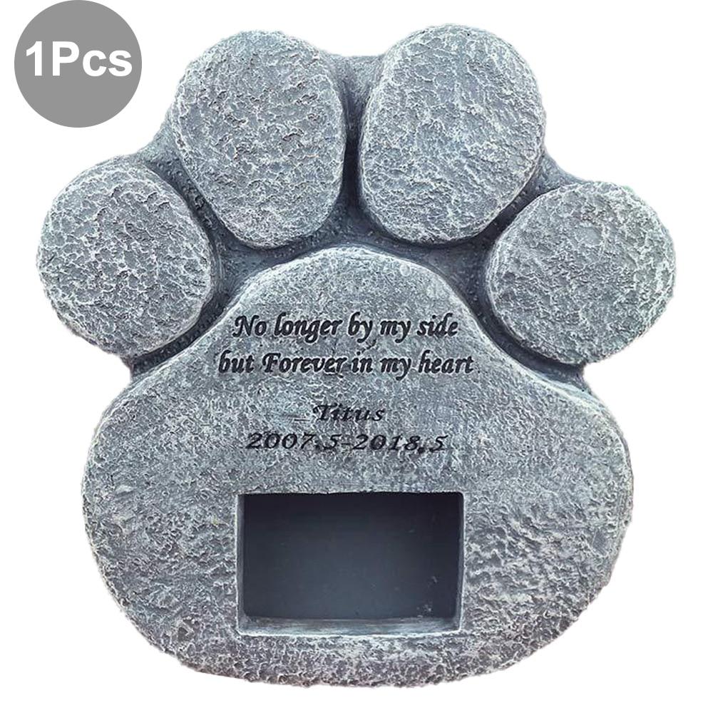 Image 2 - Memorial Tombstone for Pet Keepsake Gravestone Tomb Dog Cat Paw Print Animal Funeral Footprint Shaped Can Put PhotosPet Gravestones   -