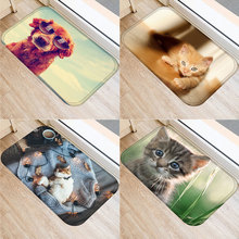 40x60cm Floor Mat Cute Cat Dog Glasses Pattern Non-slip Water Absorption Door Entrance Carpet Bathroom Pad Decor