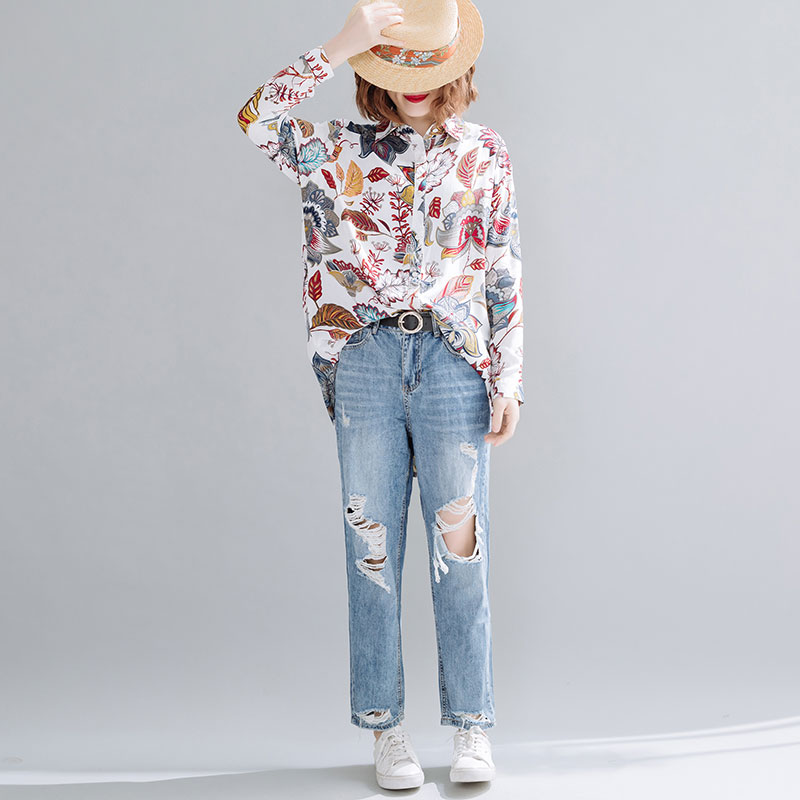 DIMANAF Summer Plus Size Women Blouse Shirts Beach Elegant Lady Tops Tunic Casual Loose Print Floral Long Sleeve Cardigan 2020