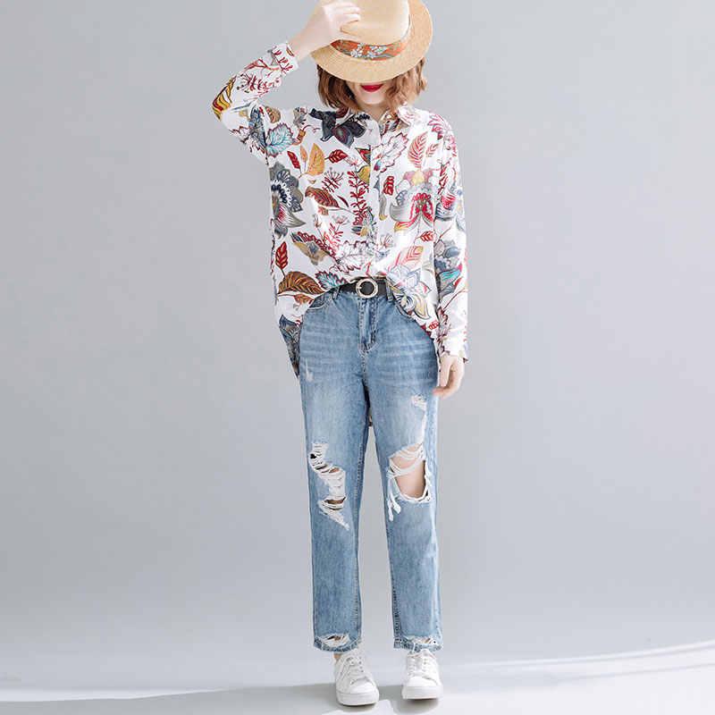 DIMANAF été grande taille femmes Blouse chemises plage élégant montre de sport tunique décontracté ample imprimé Floral à manches longues Cardigan 2020