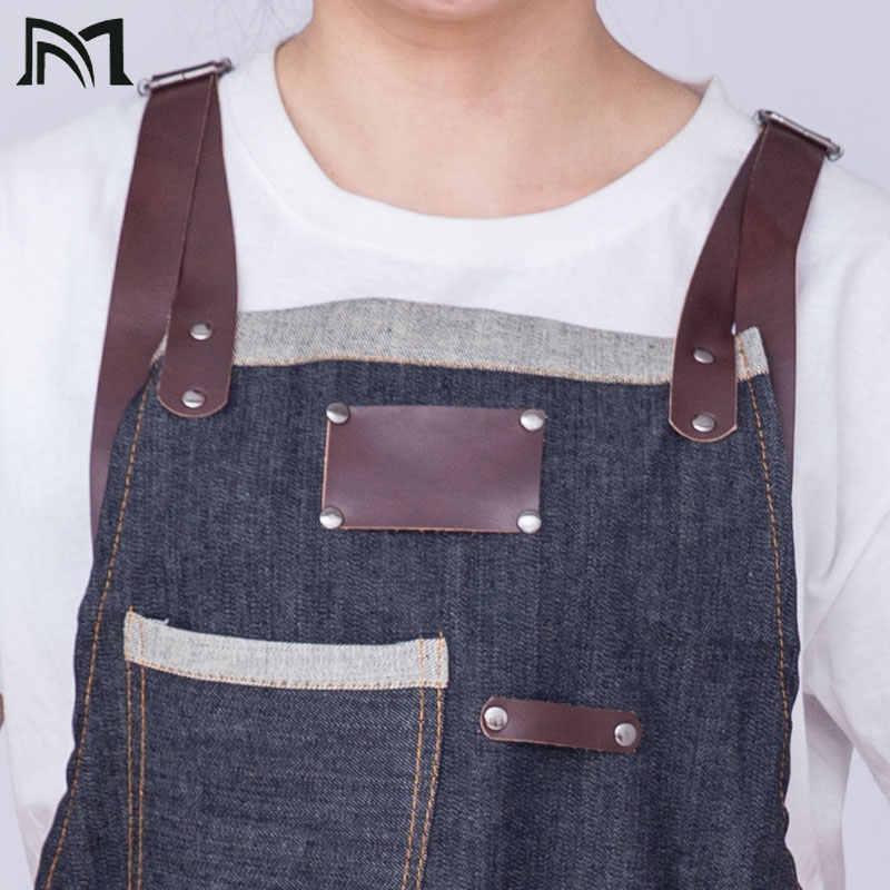 80*65 cm الدنيم المطبخ مريلة مطبخ مع قابل للتعديل القطن حزام كبير جيوب الأزرق 34x27 بوصة باريستا الرجال والنساء Homewear