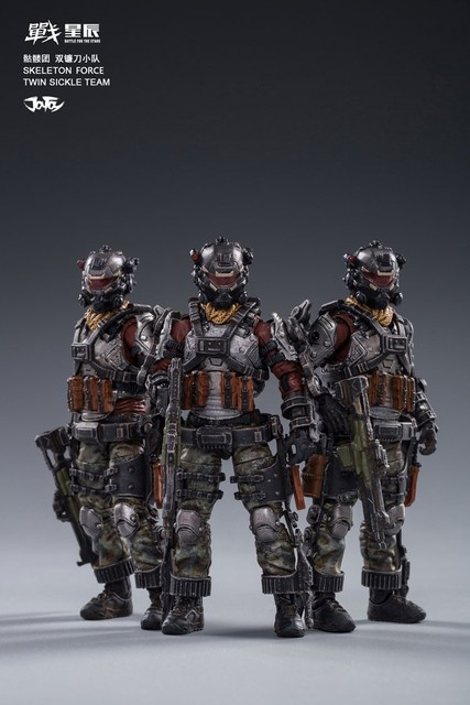 مجموعة شخصيات الحركة 3 من جويتوي JT0173 لقوات الهيكل العظمي مزدوجة المنجل فرقة 1/18