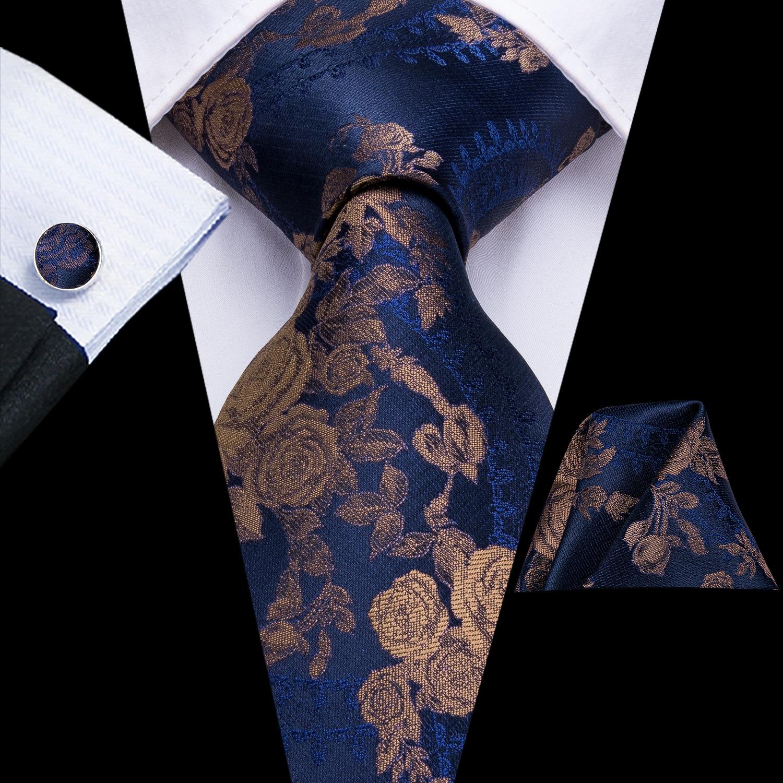 Hi-Tie Luxury Silk Mens Ties Flora Paisley Hanky Cufflinks Set Ties For Men Green Gold Red Fashion Classic Party Wedding Tie Set