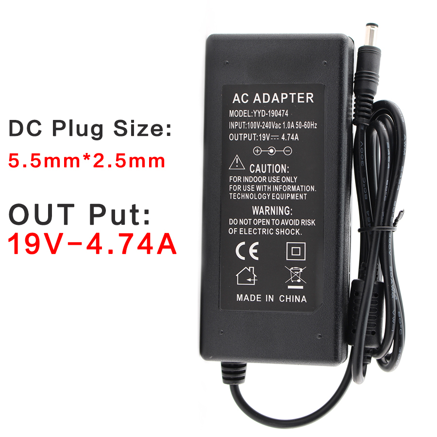 AC DC Charger 90W 19V Power Adapter for ASUS K53BY K53SJ K53SV K53U K53E 5.5mm