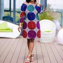 African Fashion Long Sleeve Knee-Length Off Shoulder Casual Dress Ethnic Printed Women Polka Dot Female Vintage Loose Dress Fall(China)