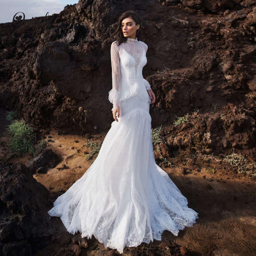 Optcely New Arrival Vintage O-Neck Lace Mermaid Wedding Dress 2019 Long Sleeve Ball Gown Tiered Princess Dream Vestido De Noiva