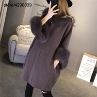 High Quality Women Real Fox Fur Hooded Cardigan Mink Cashmere Zipper Long Sleeve Winter Autumn Warm Kintted Coat