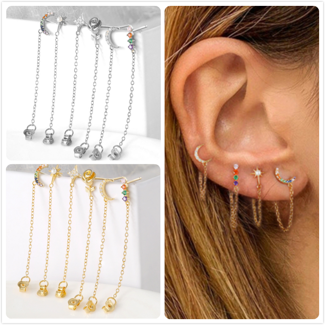 925 Sterling Silver Earrings For Women Gold Flower Earrings Girl Crystal Zircon Ear Bone brincos Star Moon Long Tassel aretes R5