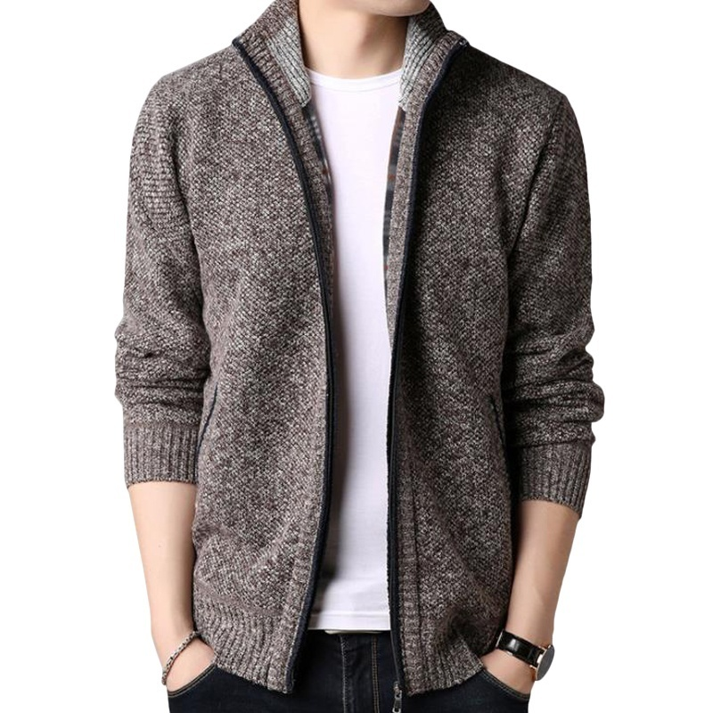 Cardigan Zipper Men Clothing Pocket Cardigan Knitwear Sweater Men Coat Autumn Winter Solid Long Sleeves Men's Sweater