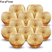 YuryFvna 6/12 Pcs Mercury Glass Candle Holders Votive Tealight Candlestick Wedding Centerpieces Parties Home Decoration Gift