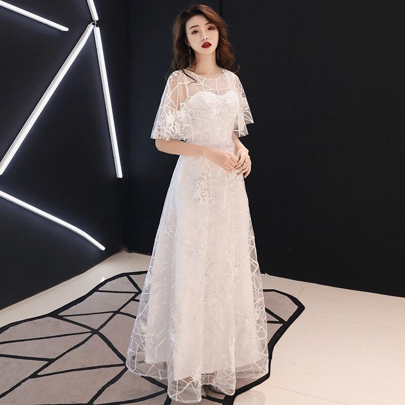 O-cou robe de soirée cape manches femmes mariée Cheongsam cheville-longueur mariage Qipao élégant robes longues robe Vestido XS-XXXL