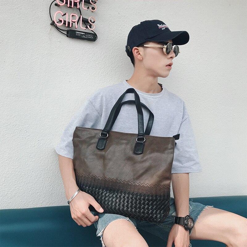 Q the new Korean version of embroidery retro men's handbags men's handbags fashion woven bag briefcase computer bag|Crossbody Bags|   - title=