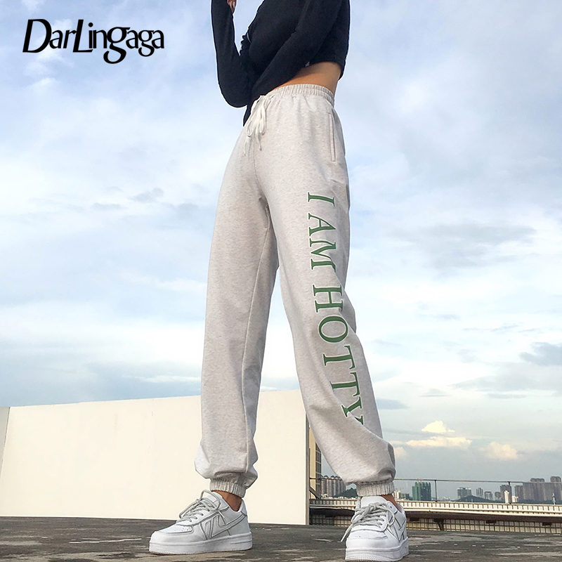 Darlingaga Casual Loose Cotton Sweatpants Women   Pants   Letter Printed Harajuku Trousers Elastic High Waist   Pants     Capri   Bottom New