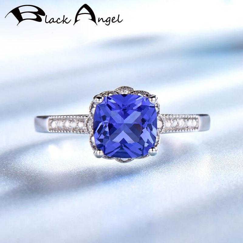 Sapphire Tanzanite Rings for Women 925 Sterling Silver Ring Blue Gemstone Birthstone Ring Fine Jewelry Romantic Anniversary Gift