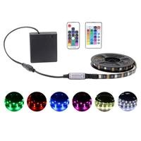バッテリー電源rgb ledストリップライト5050 5v dcリモコン変色防水リボンテープライト文字列ストリップランプ