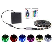 Светодиодная RGB ленсветильник с питанием от аккумулятора, 5050, 5 в постоянного тока, меняющая цвет, водонепроницаемая лента, световая лента, s-...