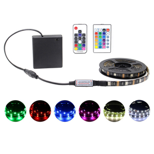 Battery Power RGB Led Strip Light 5050 5V DC Remote Control Changing Color Waterproof Ribbon Tape Lights String Strip Lamp