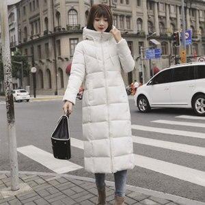 Image 3 - Lange Hooded Thicken Slim Warm Down Jassen Vrouwen Casual Solid Pockets Rits Winter Katoen Uitloper Vrouwelijke Plus Size Jas Jassen