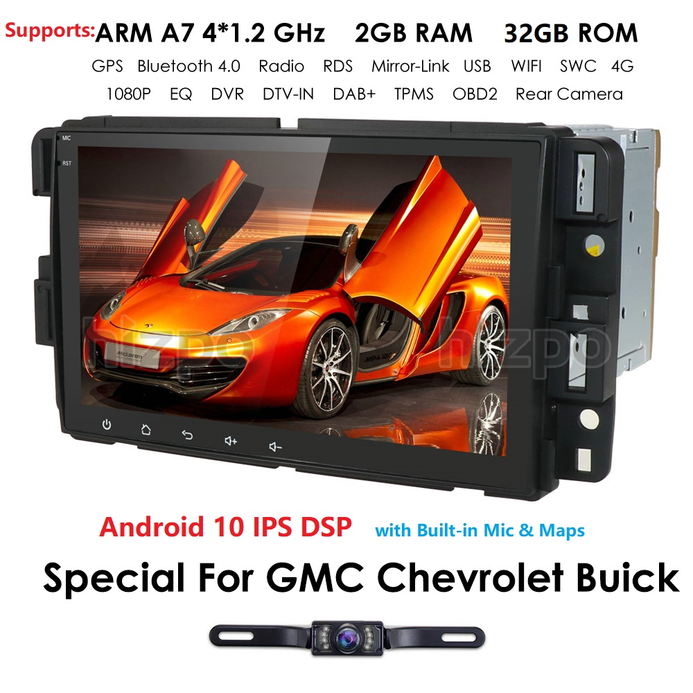 hizpo Double Din Car Navigation Stereo with Bluetooth Fit for GMC Chevrolet Buick Yukon Acadia Savana Built-in 7 Inch Touch Screen Car Entertainment Multimedia Radio WiFi GPS