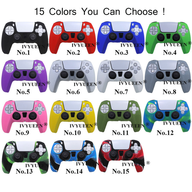 IVYUEEN Anti-slip Silicone Cover Skin for Sony PlayStation Dualshock 5 PS5 Controller Case Thumb Stick Grip Cap for DualSense 2