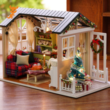 Doll House Miniature DIY Dollhouse With Furnitures Wooden House Toys For Children Holiday Times Z009 diy doll house miniature with furnitures wooden dollhouse villa model children gift under the cherry tree toys 13835 e