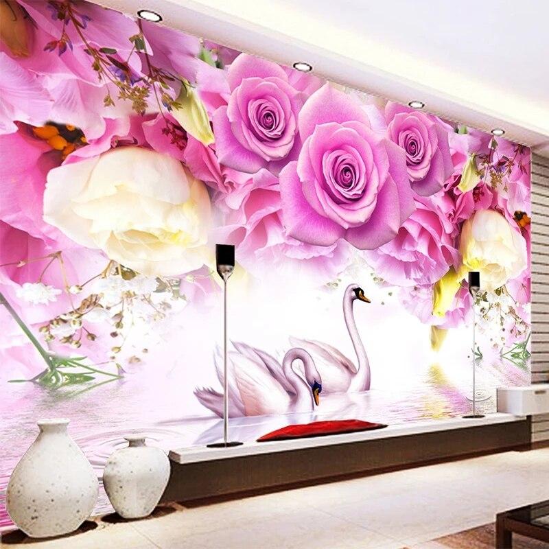 Самоклеящиеся обои на заказ, современная настенная 3D Роспись с изображением фиолетовых роз и лебедя, для гостиной, спальни, домашний декор, ...