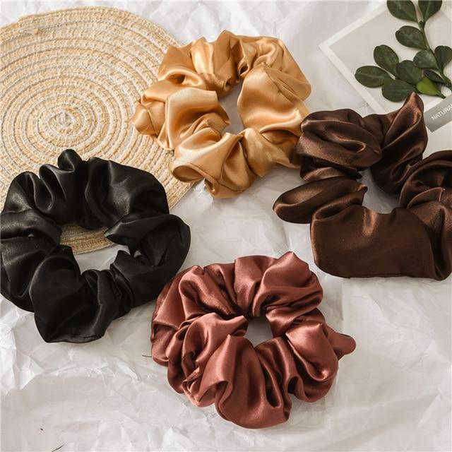1 Pcs Satin Silk Solid Color Hair Ties Scrunchie Elastic Hair Bands Women Luxury Soft Hair Accessories Ponytail Holder Hair Rope 1