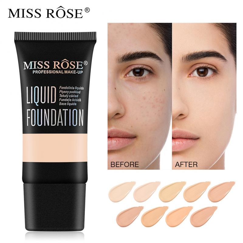 MISS ROSE 9 Colors Face Foundation Waterproof Liquid Foundation Base Liquid Concealer Makeup Cosmetics the ordinary make up image